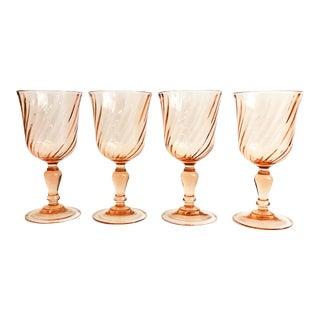 Vintage Pink Swirl Wine Glasses - Set of 4 For Sale