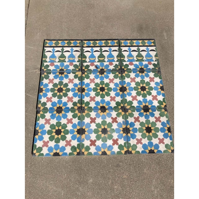 Encaustic Moroccan Encaustic Cement Tiles with Traditional Fez Moorish Design For Sale - Image 7 of 7