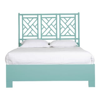 Chippendale Bed Queen - Turquoise For Sale