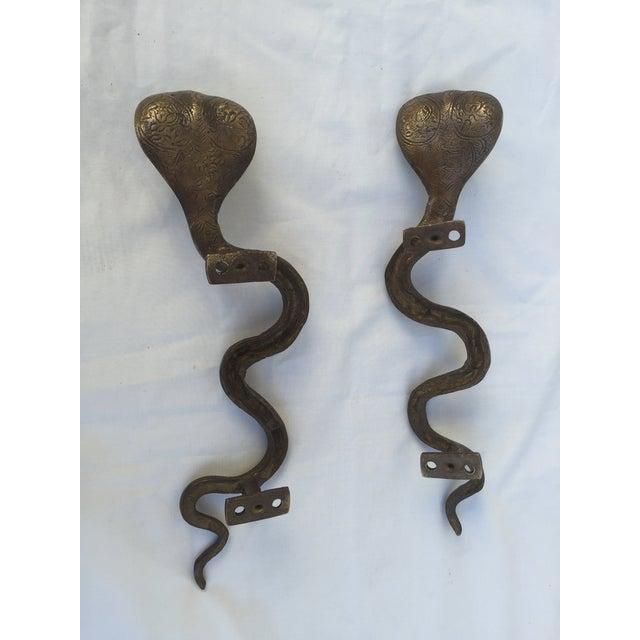 Brass Cobra Door Handles - A Pair - Image 8 of 8