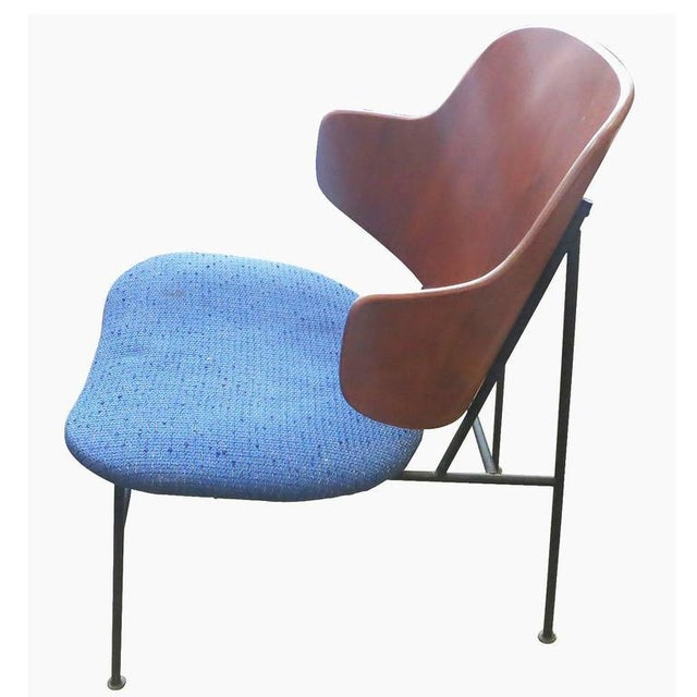 "Ib Kofod-Larsen 1950s Ib Kofod-Larsen ""Penguin"" Iron and Molded Birch Danish Lounge Chair For Sale - Image 4 of 8"