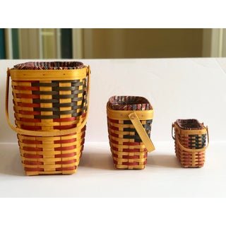 Vintage Longaberger 25th Anniversary Collection American Flag Maple Baskets – Set of 3 Preview