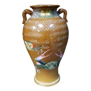 Circa 1880 Japanese Arita Porcelain Enameled Crabs Motif Dragon Handle Vase For Sale