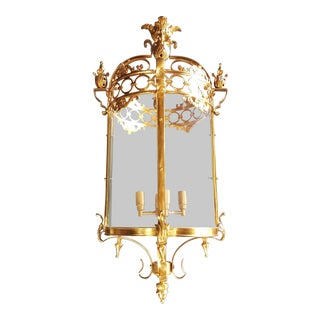 6 Aviable Large Cylindrical Lantern in Louis XVI Style Brass Glass Pendant Lighting For Sale