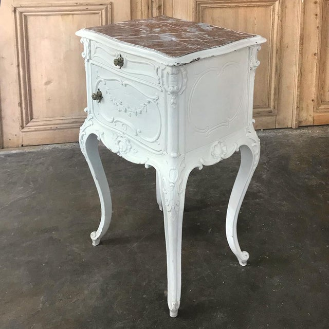 French 19th Century French Louis XV Painted Nightstand For Sale - Image 3 of 13