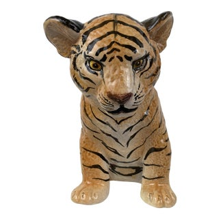 Vintage Ceramic Italian Tiger Cub For Sale