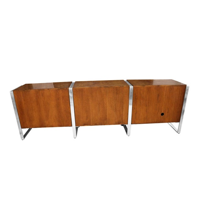 Mid Century Burl Walnut Brushed Chrome Sideboard Buffet Pace Collection For Sale - Image 10 of 11
