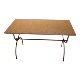 Small Gilt Iron Marble Top Coffee Table For Sale