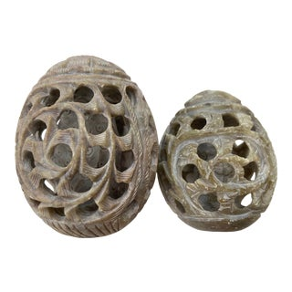 Vintage Stone Hand-Carved Eggs- a Pair For Sale