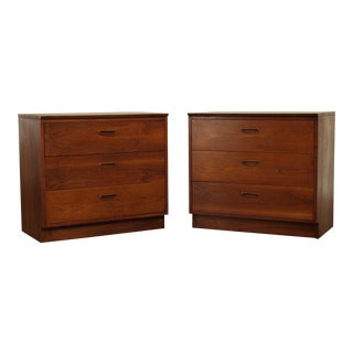 Lane Mid Century Modern Walnut 3 Drawer Chests - a Pair For Sale