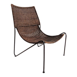 1950s Vintage Frederick Weinberg Wicker Lounge Chair For Sale