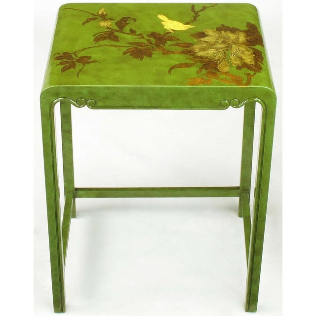 Three Embossed & Parcel Gilt Rich Jade Green Nesting Tables - Image 7 of 10