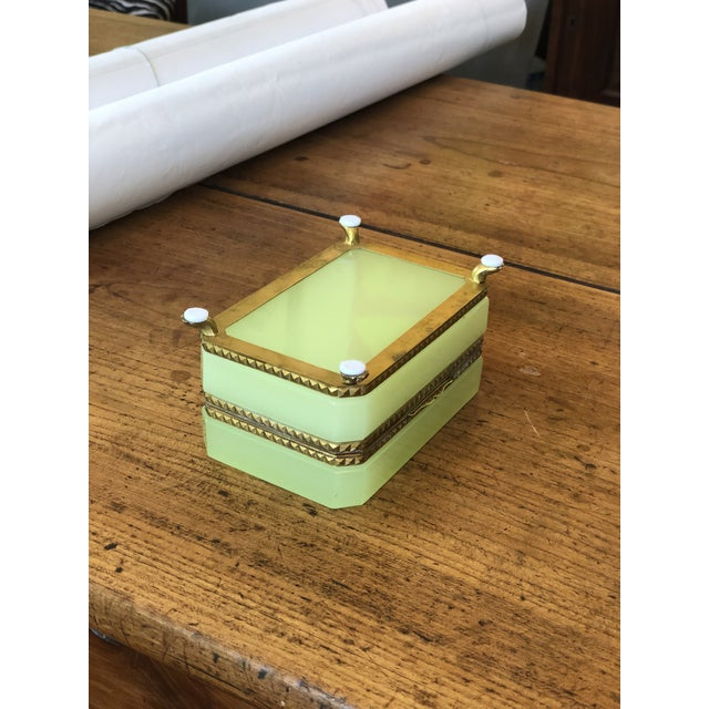 Metal Yellow-Green Opaline Glass Box With Brass Trim and Feet For Sale - Image 7 of 9