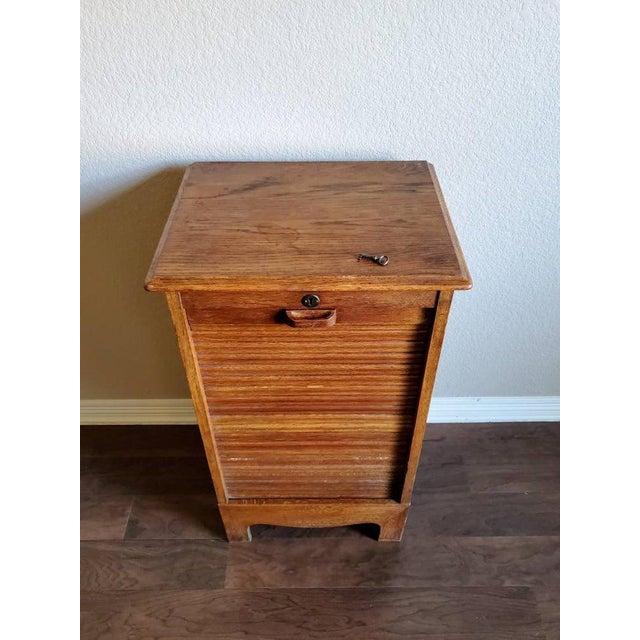 Mid-Century Danish Modern Tiger Oak Tambour Cabinet For Sale - Image 10 of 11
