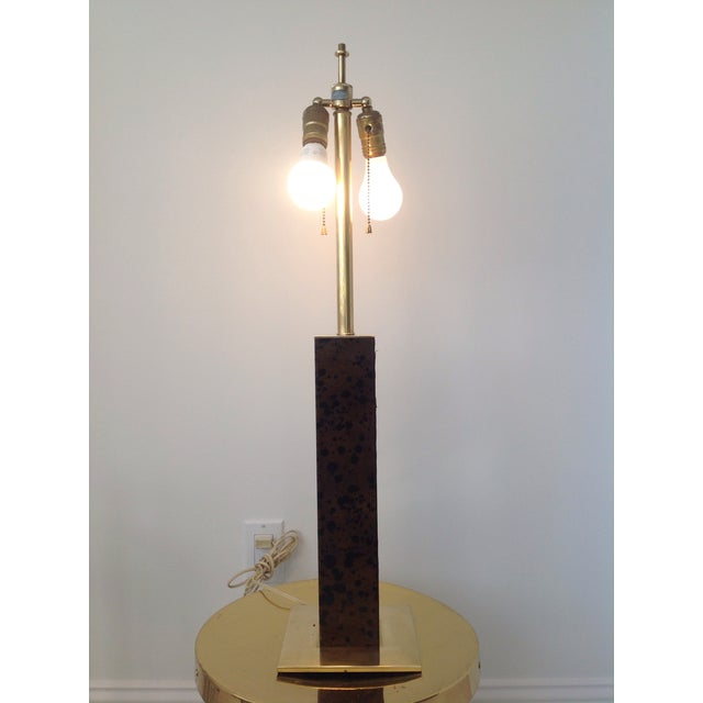 Vintage Von Nessen Brass & Leather Table Lamp - Image 4 of 4