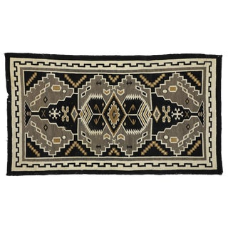 Antique Native American Indian Kilim Rug With Navajo Two Grey Hills Style - 5′8″ × 10′ For Sale