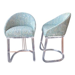 Lion in Frost Bar Stools - a Pair For Sale