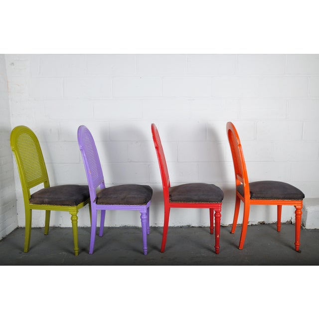 Wood 1970's Vintage French Multicolor Dining Chairs With Cane Back - Set of 4 For Sale - Image 7 of 13