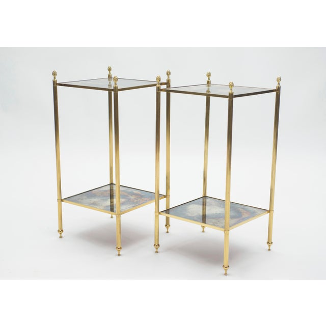 Pair of French Maison Jansen Brass Mirrored Two-Tier End Tables 1960s For Sale - Image 6 of 13