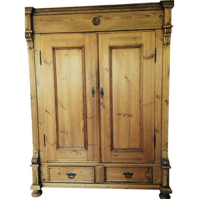 German Antique Pine Armoire - Image 1 of 6