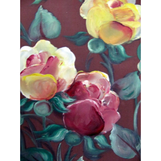 1940's Still Life Floral Paintings on Silk-3 Pieces For Sale - Image 6 of 8