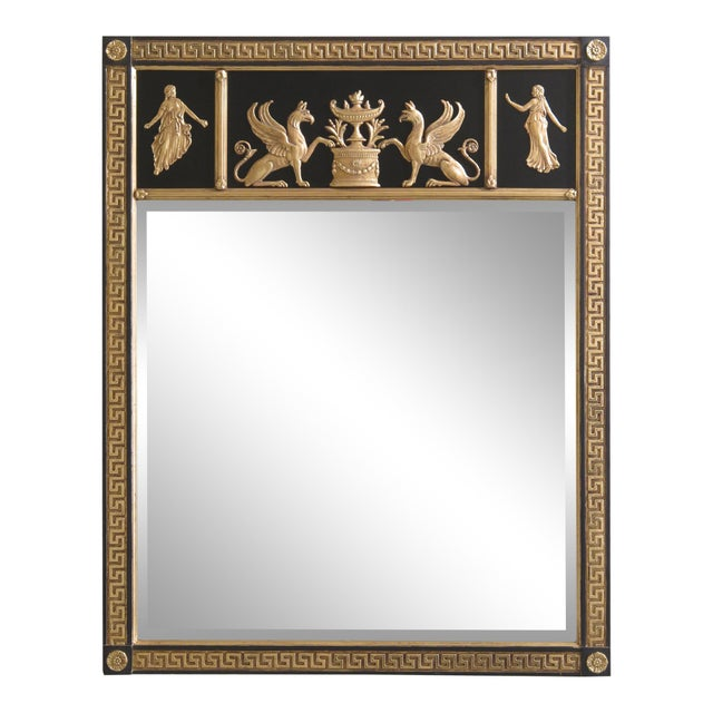 Friedman Brothers Neoclassical Style Black & Gold Mirror For Sale - Image 10 of 10
