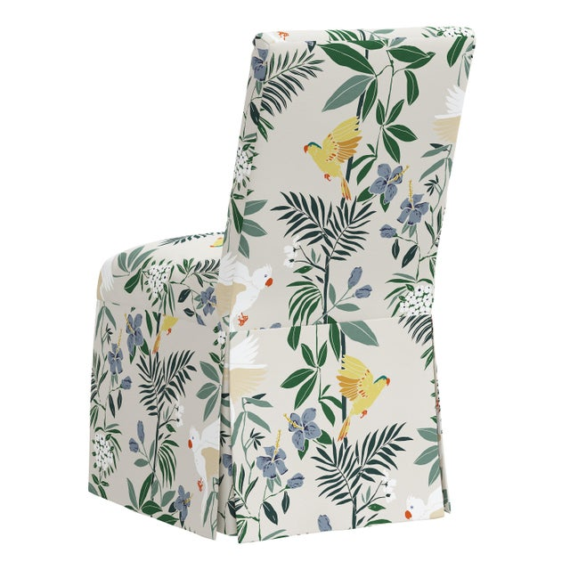 Slipcover Dining Chair in Belize Chinoiserie Cream For Sale - Image 4 of 8