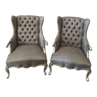 Antique Louis XVI Style Easy Chairs - Pair
