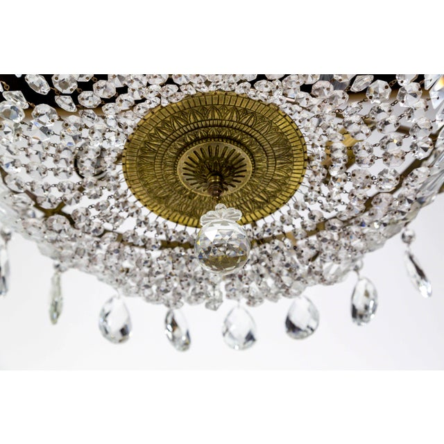 Wide Shallow Crystal Basket Chandelier With Brass Garland For Sale In San Francisco - Image 6 of 11