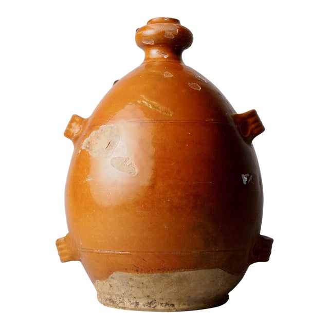 French Brown Pottery Jug with Four Handles For Sale