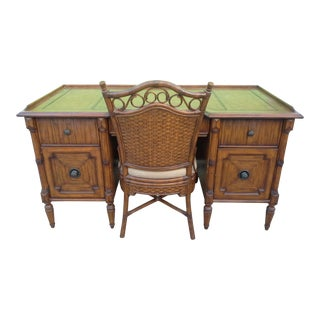 British Colonial Tommy Bahama Home for Lexington Executive Desk Set - 2 Pieces For Sale