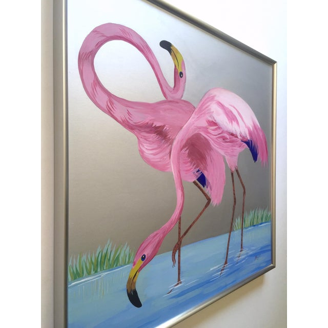 """1950s Rare Vintage 1950s Art Deco """" Pink Flamingos in Lagoon """" Framed Original Fine Art Gouache Painting on Board For Sale - Image 5 of 13"""