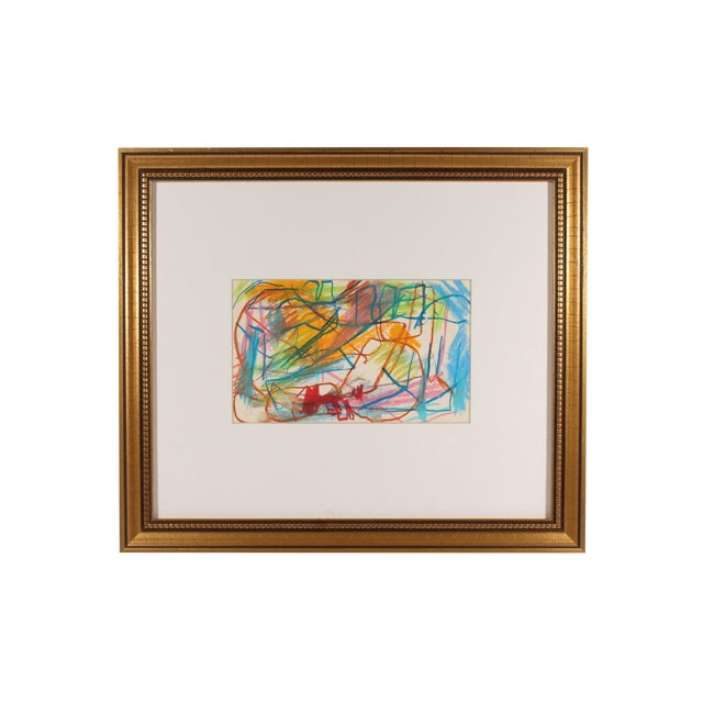 Late 20th Century Paul Chidlaw Oil Pastel Abstract Drawing For Sale