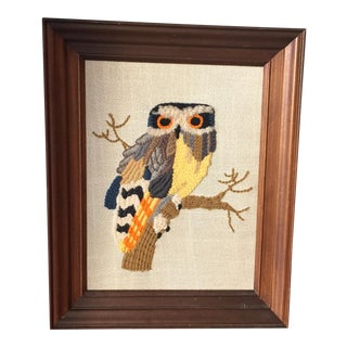 Vintage Hand Made Yarn Owl Artwork For Sale