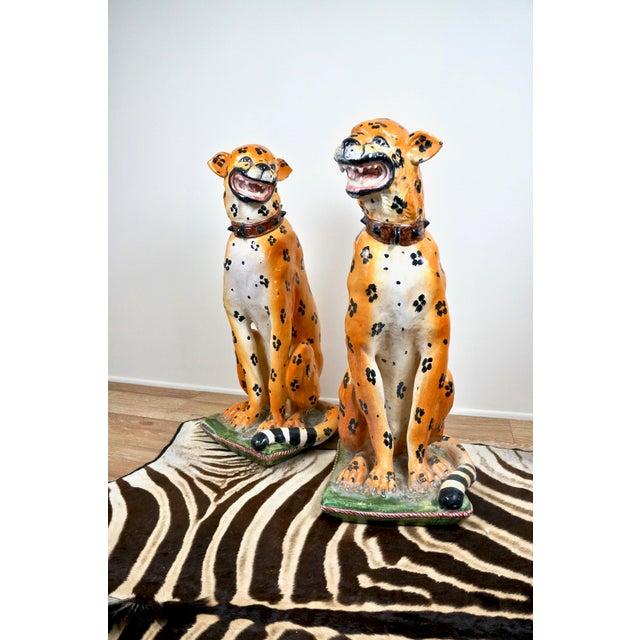 Ceramic Mid-Century Italian Ceramic Cheetah Statues - Pair For Sale - Image 7 of 8