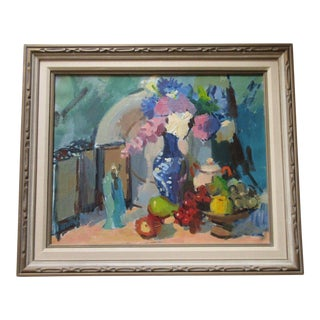 Fred Branson Painting 1950's Mid Century Modern Colorful Still Life Vintage For Sale
