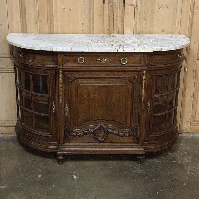 Metal 19th Century French Louis XVI Marble Top Display Buffet For Sale - Image 7 of 12