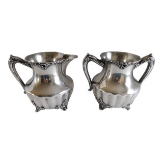 Antique Adelphi Silverplate Creamer and Sugar - a Pair For Sale