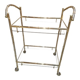 1960s Mid Century Chrome Faux Bamboo Bar Cart With Smoked Glass Shelves For Sale
