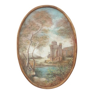 Italian Hand-Painted Landscape Painting For Sale