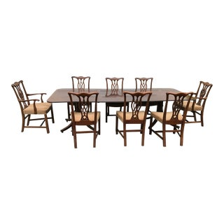 Georgian Double Pedestal Dining Table W/ 8 Chippendale Chairs For Sale