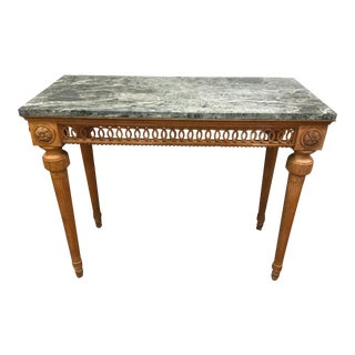 Neoclassical Italian Green Marble Top Console Table For Sale