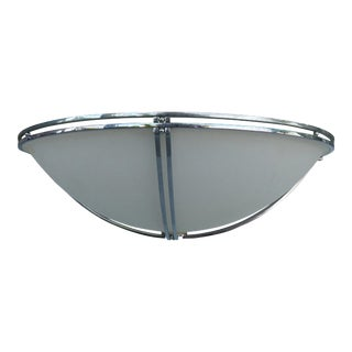Chrome & Frosted Glass Flush Mount Ceiling Fixture For Sale