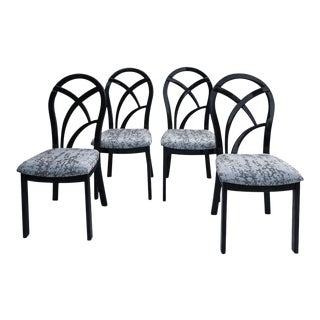 80's Italian Black Lacquer Art Deco Dining Chairs - Set of 4 For Sale