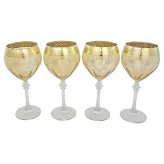 Gold-Rimmed Wine Glasses, S/4 For Sale