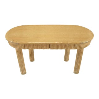 Custom Oval Cerused Oak Writing Desk with Reeded Legs and Apron For Sale