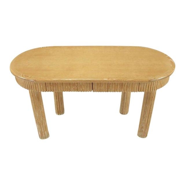 Custom Oval Cerused Oak Writing Desk with Reeded Legs and Apron - Image 1 of 8