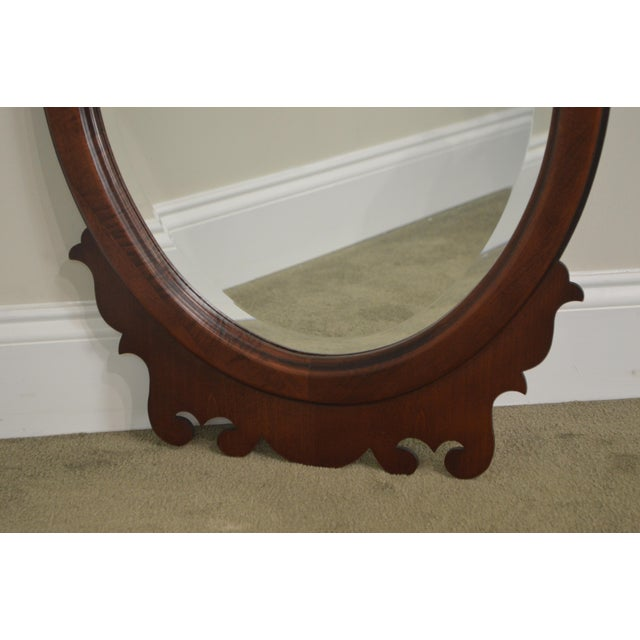 Brown Victorian Style Cherry Oval Beveled Wall Mirror For Sale - Image 8 of 12