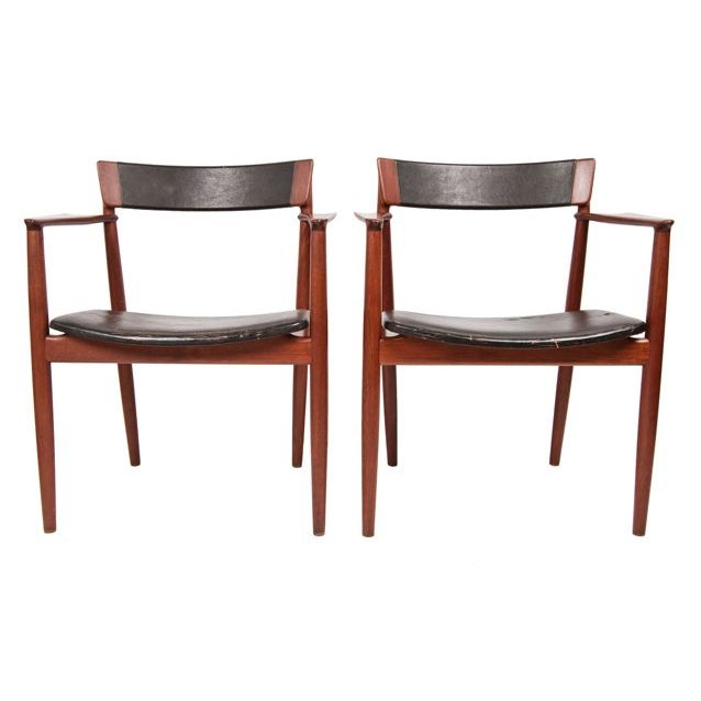Teak & Leather Arm Chairs - A Pair For Sale