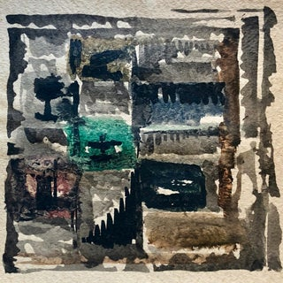 Original Abstract Mid-Century Watercolor For Sale